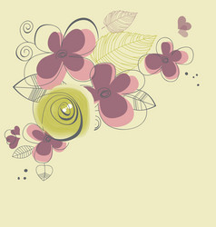 spring flowers corner decoration vector image