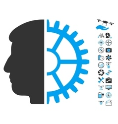 Android Head Icon With Air Drone Tools Bonus vector image vector image