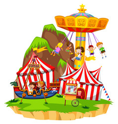 children playing on rides in amusement park vector image