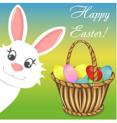 happy easter bunny basket banner vector image