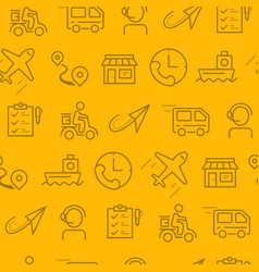 line style icons seamless pattern icons delivery vector image vector image