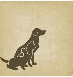 Pets silhouettes dog cat and rabbit logo of pet vector image vector image