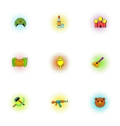 Tourism in Russia icons set pop-art style vector image vector image