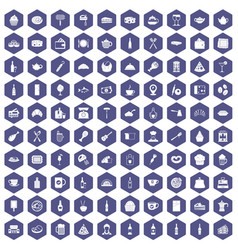 100 restaurant icons hexagon purple vector