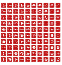 100 toys for kids icons set grunge red vector image