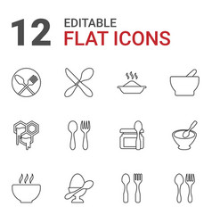 12 spoon icons vector