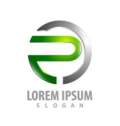 3d circle letter p logo concept design symbol vector image