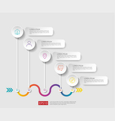 5 steps infographic timeline design template with vector image