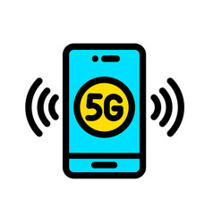 5g color icon in simple style vector image