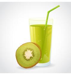 A glass of fresh kiwi juice and half of ripe kiwi vector image