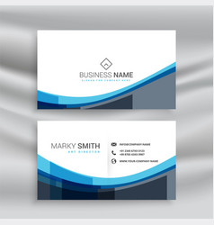 abstract blue wavy lines business card design vector image
