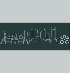 Abu dhabi single line skyline vector