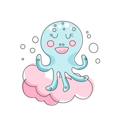 Adorable blue octopus against pink fluffy cloud vector