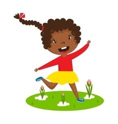 Afro girl running vector