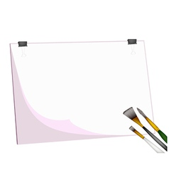 Artist Brushes and Eraser on Blank Clipboard vector image