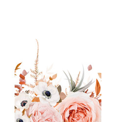 autumn fall floral bouquet border frame pattern vector image