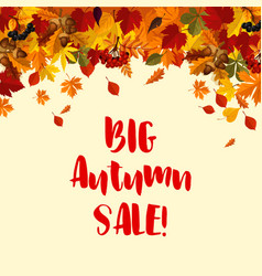 Autumn fall leaves sale poster template vector