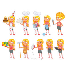 Baby girl stands and holds a various objects vector