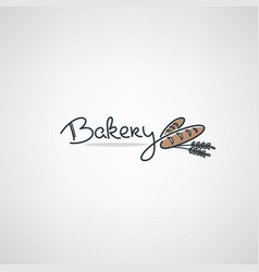 bakery logo design template with doodle bread vector image