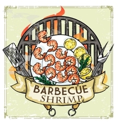 BBQ Grill label design - Shrimp vector