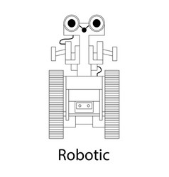 black-and-white of the robot vector image