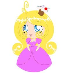 Blond cupcake princess in pink dress vector