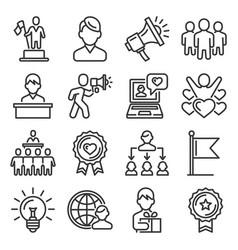 brand ambassador and influencer icons set line vector image