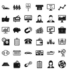 business game icons set simple style vector image
