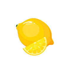 cartoon fresh lemon isolated on white background vector image