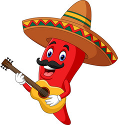 Cartoon happy sombrero chili pepper playing a guit vector