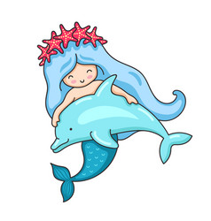 Cartoon mermaid in a wreath of red starfish with vector