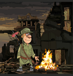 cartoon soldier stands by the bonfire in ruins vector image