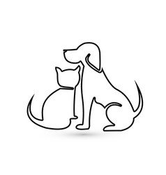 Cat and dog pet clinic icon silhouette vector