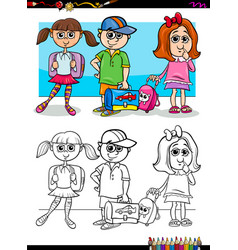 Children pupil characters coloring book vector