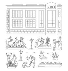 Children working in school garden - isolated line vector