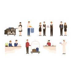 collection of hotel staff - receptionist maid or vector image