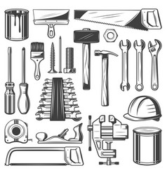 Construction house repair or carpentry tool icons vector