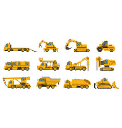 construction trucks equipment building trucks vector image
