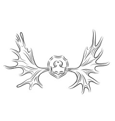 contour moose antlers vector image