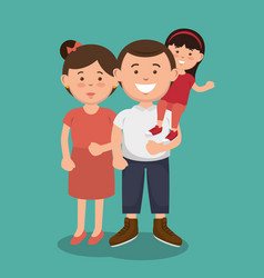 Couple and kid icon vector