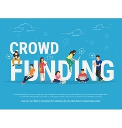 Crowd funding concept vector