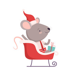 Cute mouse in red santa hat sitting in sleigh vector