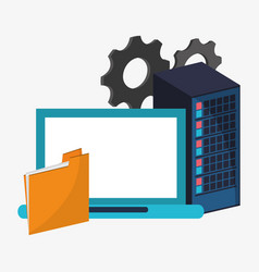 data center setting laptop file vector image