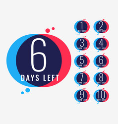 Days left countdown number banner design vector