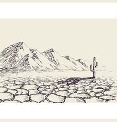 Desert landscape arid environment and a cactus vector