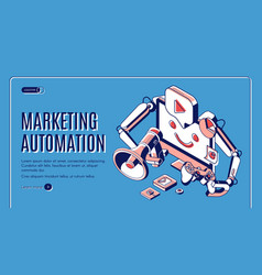 Digital marketing automation isometric web banner vector