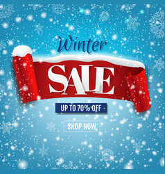 discount winter poster with red ribbon with snow vector image