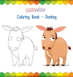 Donkey coloring book educational game vector