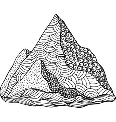 Doodle mountain coloring page cartoon artwork vector