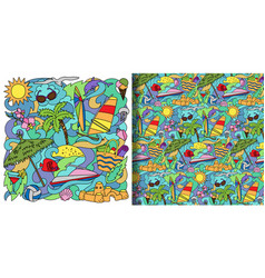 Doodle summer beach print and seamless pattern vector